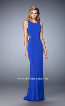 Picture of: Embellished Prom Gown with Sheer Sides in Blue, Style: 22299, Main Picture