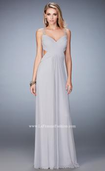 Picture of: Rhinestone Embellished Net Gown with Cut Outs in Silver, Style: 22304, Main Picture