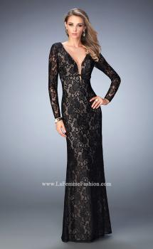 Picture of: 3/4 Sleeve Crystal Encrusted Lace Prom Dress in Black, Style: 22306, Main Picture