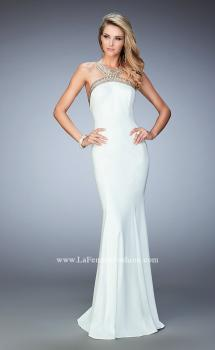 Picture of: Long Open Back Jersey Prom Dress with Gold Stud Detail, Style: 22307, Main Picture