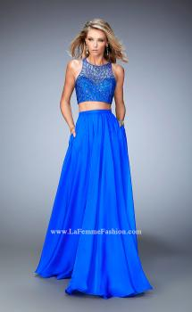 Picture of: Two Piece Chiffon Gown with Illusion Neckline and Pockets in Blue, Style: 22308, Main Picture