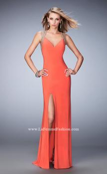 Picture of: V Neckline Prom Dress with Gold Stud Detail and Slit, Style: 22312, Main Picture
