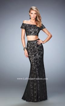 Picture of: Two Piece Off the Shoulder Lace Dress with Lace in Black, Style: 22317, Main Picture