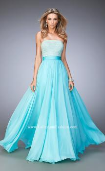 Picture of: Long Prom Dress with Crystals, Pearls, and Pockets, Style: 22318, Main Picture