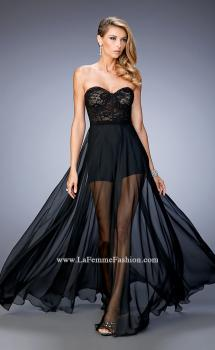 Picture of: Chiffon Prom Gown with Sheer Lace Bodice and Shorts in Black, Style: 22324, Main Picture