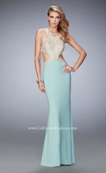 Picture of: Racer Back Jersey Prom Dress with Gold Embroidery in Green, Style: 22325, Main Picture