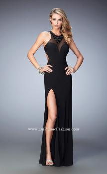 Picture of: Open Back Long Prom Dress with Beaded Detail and Slit, Style: 22326, Main Picture