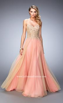 Picture of: Elegant Gown with Gold Sequin Lace and Sheer Detail in Orange, Style: 22331, Main Picture