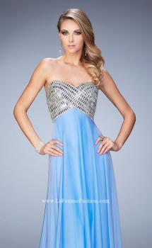 Picture of: Long Chiffon Prom Dress with Open Back and Silver Beads in Blue, Style: 22334, Main Picture