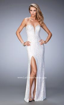 Picture of: Lace Gown with Pearl and Crystal Detail and Side Slit, Style: 22335, Main Picture