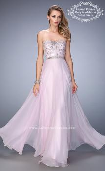 Picture of: Chiffon Prom Gown with Crystals, Pearls, and Rhinestones in Pink, Style: 22337, Main Picture