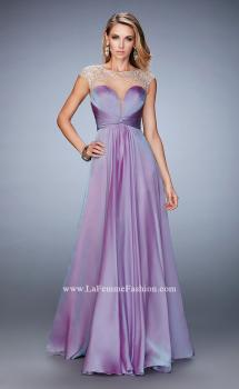 Picture of: Long Chiffon Prom Dress with Gathered Bodice and Skirt in Purple, Style: 22338, Main Picture