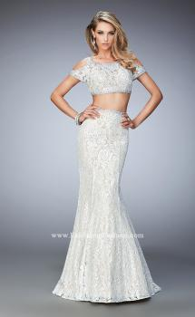 Picture of: Cold Shoulder Two Piece Prom Dress with Mermaid Skirt in White, Style: 22339, Main Picture