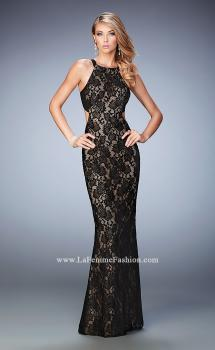 Picture of: High Neck Lace Prom Gown with Cut Outs and Open Back in Black, Style: 22341, Main Picture