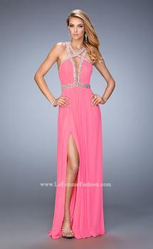 Picture of: Crystal Encrusted Prom Gown with Side Leg Slit in Pink, Style: 22347, Main Picture