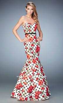 Picture of: Jacquard Mermaid Dress with Flower and Polka Dot Print in Print, Style: 22348, Main Picture