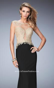 Picture of: Illusion Neckline Prom Dress with Gold Lace Detail in Black, Style: 22349, Main Picture