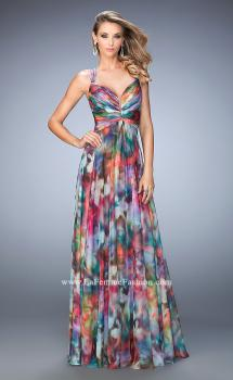 Picture of: Abstract Print Chiffon Prom Dress with Strappy Back in Print, Style: 22355, Main Picture