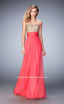 Picture of: Open Back Chiffon Prom Dress with Gold Stud Pattern in Pink, Style: 22359, Main Picture
