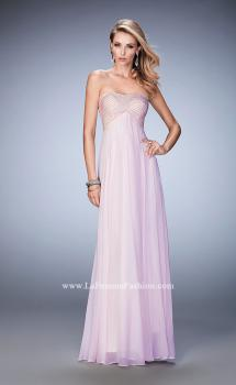 Picture of: Empire Waist Prom Dress with Crystal and Pearl Bodice in Pink, Style: 22363, Main Picture