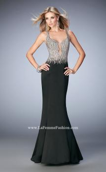 Picture of: Satin Mermaid Gown with Open Back and Cascading Beads in Black, Style: 22365, Main Picture