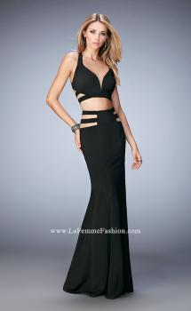 Picture of: Long Two Piece Mermaid Gown with Strappy Back in Black, Style: 22367, Main Picture