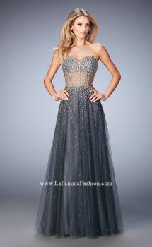 Picture of: A Line Tulle Prom Gown with Corset Bodice and Studs in Silver, Style: 22369, Main Picture