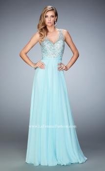 Picture of: Long Rhinestone Dress with Scallop Detail and Open Back, Style: 22376, Main Picture