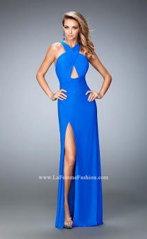 Picture of: Strappy Open Back Prom Dress with Gathered Bodice in Blue, Style: 22380, Main Picture