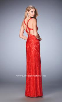 Picture of: Elegant Lace Prom Dress with Cut Outs and Rhinestones in Red, Style: 22381, Main Picture
