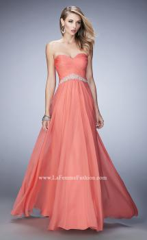 Picture of: Chiffon Prom Dress with Crystal and Pearl Detailed Band in Orange, Style: 22382, Main Picture