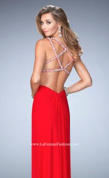 Picture of: Long Prom Gown with V Neck and Crystal Encrusted Straps in Red, Style: 22384, Main Picture