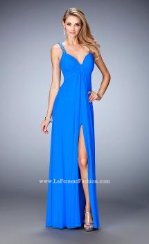 Picture of: Crystal Embellished Gown with Center Slit and Open Back, Style: 22385, Main Picture