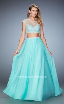 Picture of: Two Piece Illusion Neckline Dress with Pearls and Crystals, Style: 22387, Main Picture