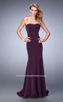Picture of: Tonal Rhinestone Jersey Prom Dress with Slight Train in Purple, Style: 22396, Main Picture