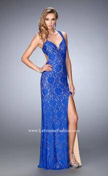 Picture of: Elegant Lace Dress with Open Back and Side Leg Slit in Blue, Style: 22398, Main Picture