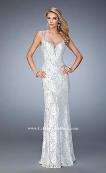Picture of: White Lace Prom Gown with Crystal Encrusted Neckline in White, Style: 22400, Main Picture
