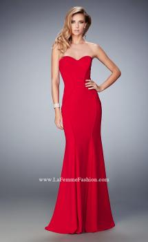 Picture of: Sweetheart Neckline Long Jersey Prom Gown with Piping in Red, Style: 22401, Main Picture