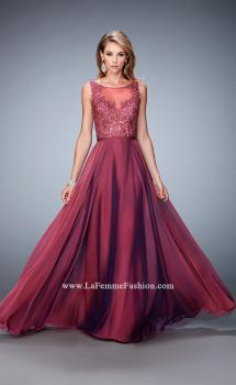 Picture of: Sheer Illusion Neckline Prom Dress with Back X Straps in Pink, Style: 22407, Main Picture
