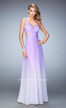 Picture of: Long Ombre Chiffon Prom Dress with Beaded Strappy Back in Purple, Style: 22416, Main Picture