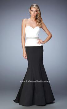 Picture of: Peplum Style Satin Mermaid Gown with Train and Belt in Black, Style: 22418, Main Picture