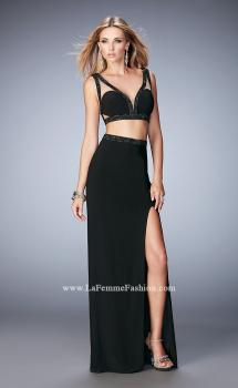 Picture of: Modern Two Piece Prom Dress with Daring Side Leg Slit in Black, Style: 22421, Main Picture