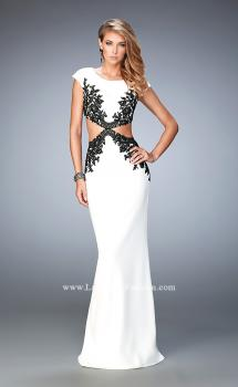 Picture of: Embroidered Jersey Prom Dress with Cut Outs in White, Style: 22426, Main Picture