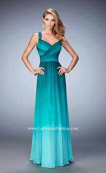 Picture of: Ombre Chiffon Prom Dress with Crystal Encrusted Straps in Green, Style: 22432, Main Picture