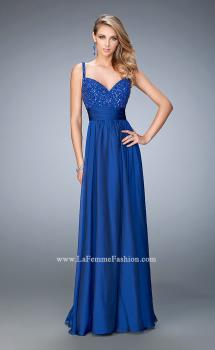 Picture of: Embellished Prom Dress with Gathered Band and Skirt in Blue, Style: 22433, Main Picture