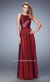 Picture of: Taffeta Prom Gown with Sequined Bodice in Red, Style: 22439, Main Picture