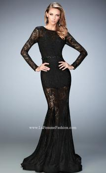 Picture of: Long Sleeve Lace Prom Dress with Body Suit in Black, Style: 22443, Main Picture