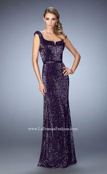 Picture of: Long Sequin Evening Gown with Square Neck and Belt, Style: 22445, Main Picture