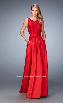 Picture of: Lace Top Taffeta Gown with Open Back and Pockets in Red, Style: 22446, Main Picture