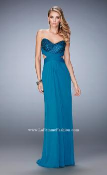 Picture of: Elegant Prom Dress with Bandeau Style Back and Beads in Blue, Style: 22454, Main Picture